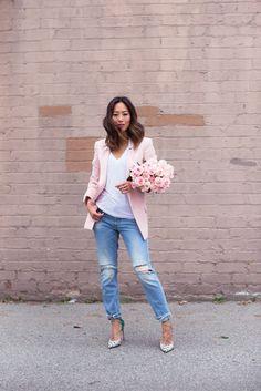 Pink Blazer and Boyfriend Jeans