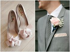 pink and grey wedding - love the polka dot ties for the groom and his groomsmen! Dasha Caffrey Photography more detail http://designingweddings.net