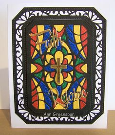 Ann Greenspan's Crafts: Religious Ornate Pierced Rectangles Cards