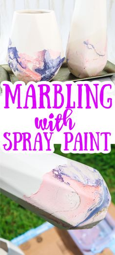 Have you tried spray paint marbling? This easy paint technique can be used on just about any surface to get a cool effect with just a few supplies! #spraypaint #crafts #homedecor #marbling #marbled #painting Spray Paint Crafts, Spray Paint Vases, Spray Paint Stencils, Spray Paint Projects, Craft Stick Crafts, Spray Painting, Painting Tricks, Quick Crafts, Fun Crafts