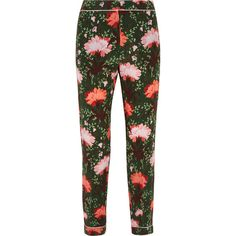 Erdem Giulia floral-print silk-satin straight-leg pants ($915) ❤ liked on Polyvore featuring pants, multi color pants, erdem, floral print trousers, floral print pants and floral trousers