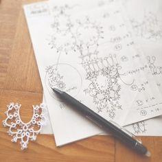 タティング、机上作業が大好き 編み図描き描き の画像|野乃のきまぐれHANDMADE生活♪