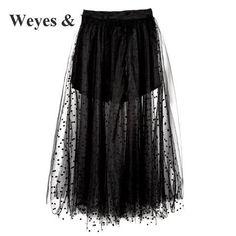 b8713c48faed Weyes & Kelf Bohemian Beach Tulle Long Irregular Skirt For Summer 2018  Black Mesh Transparent Skirt