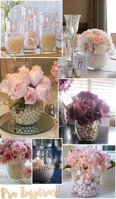 Vaso decorativo com pérolas e flores