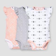Baby Girls' 3-Piece Bodysuit Set Nate Berkus™️ - Peach/White #babystuffaunt