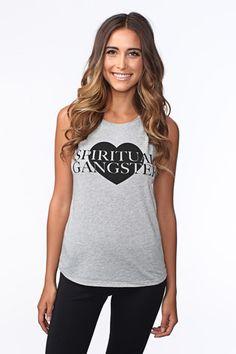 Modern Yoga Clothing: SPIRITUAL GANGSTER LOVE MUSCLE TANK HEATHER GREY