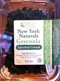 All-natural raw vegan Spirulina Crunch Greenola from New York Naturals. #productreview  http://www.healthywaytocook.com/2012/12/product-review-new-york-naturals-greenola-spirulina-crunch/