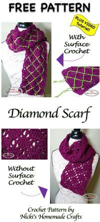 Diamond Scarf - Free Crochet Pattern by Nicki's Homemade Crafts