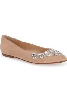 Kristin Cavallari 'Caela' Embellished Flat (Women) available at Bride Slippers, Kristin Cavallari, Suede Flats, Womens Flats, Nordstrom, Crystals, Shoes, Fashion, Moda