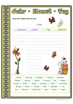 Jahr - Monat - Tag _ Zuordnung Arbeitsblatt - Kostenlose DAF Arbeitsblätter