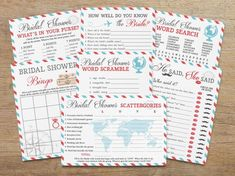 Printable travel themed baby shower games - package of Guaranteed fun for your shower with these great ice-breaker games and activities for all ages! Baby Shower Wording, Baby Shower Themes, Baby Shower Invitations, Shower Ideas, Travel Bridal Showers, Bridal Shower Cards, Blank Bingo Cards, Game Cards, Around The World Theme