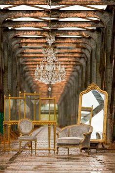 Artixe - Fauteuil aux finitions de velours et de doré - Collection Love seat