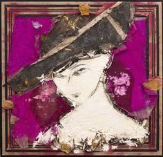 Manolo Valdés. Retrato con sombrero negro  2014 Óleo sobre arpillera 188 x 188 cm