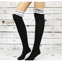 Black lace top ribbon sweet gothic lolita socks thigh high socks Knee... ($27) ❤ liked on Polyvore featuring intimates, hosiery, socks, tights, accessories, legs, leg warmer socks, above the knee socks, above knee socks and over knee high socks