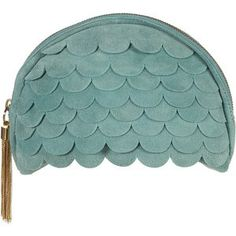 TOPSHOP Scalloped Suede Clutch Bag
