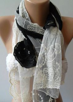 Black  Elegance Shawl / Scarf with Lace Edge by womann on Etsy,