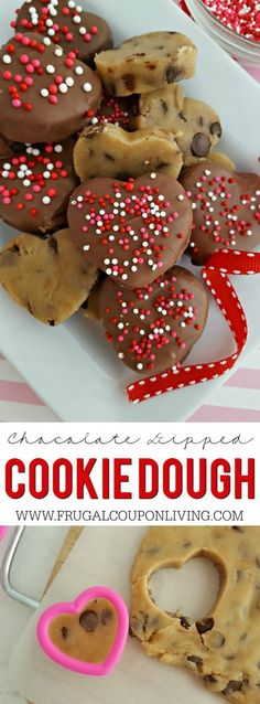 Chocolate Dipped Cookie Dough Hearts on Frugal Coupon Living. No bake, no eggs cookie dough recipes.  Valentine's Day Dessert Idea.