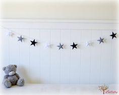 Star garland felt star banner Black grey and white by LullabyMobiles