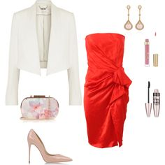Red dress by irialore on Polyvore featuring polyvore fashion style Lanvin Chloé Dolce&Gabbana Oasis Fernando Jorge Maybelline