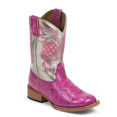 Justin Kid's Bent Rail Pink Snake Print Western Boots