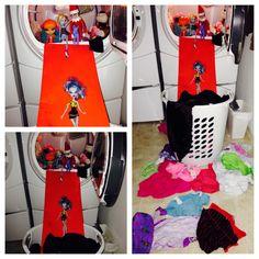 Elf on a shelf idea. Elf having fun in the clothes.