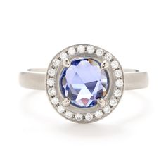 Anne Sportun Rose-Cut Sapphire Ring with Diamond Halo. I am absolutely in love with this one!