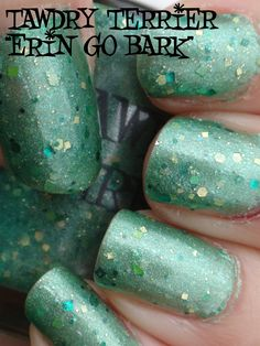 """@TawdryTerrier """"Erin Go Bark"""" (SOLD OUT) in the shade - check out our available polishes at https://www.etsy.com/shop/TawdryTerrier #tawdryterrier #nailpolish #indienailpolish #stpatricksday #stpaddysday"""