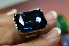 $29.99 A Bigger Bit of Bling! Huge 25x18mm Gem, Choice of Color: Jet, Midnight Blue, Lite Sapphire, Spring Green, Blood Red, or Tawny Topaz - go on pick a stone! #ring #jewellery Small Words, Spring Green, The Chic, Midnight Blue, Topaz, Blood, Sapphire, Give It To Me, Gems