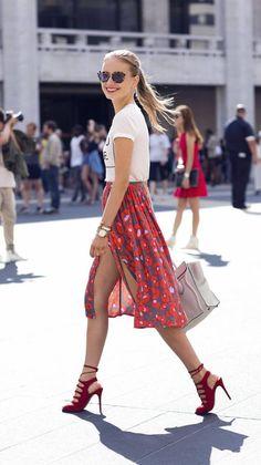 Front Slit Floral Midi Skirt