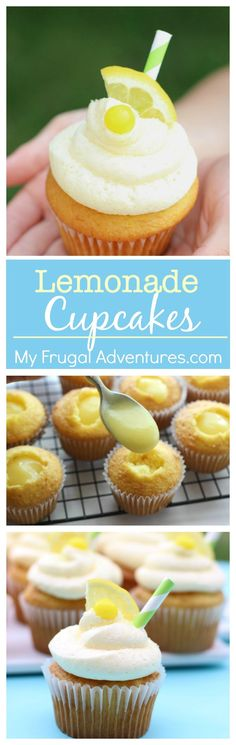 Lemonade Cupcakes! Bright lemon curd with a cream cheese frosting- absolutely delicious lemon dessert for Spring.