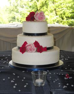 3 Tiered Wedding Cake with Roses- add a monogram.