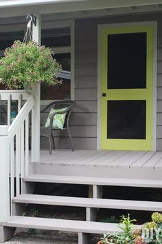 A great way to add some color to your front porch is by building a screen door and painting it a fun bright color. Learn how to build your very own DIY Screen Door. Make A Door, Diy Door, Wood Screen Door, Screen Doors, Building A Door, Farmhouse Style Table, Diy Home Repair, Ship Lap Walls, New Homes