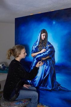 Mary and baby Jesus in royal blue. By Child Prodigy Artist Akiane Kramarik, prophetic art.