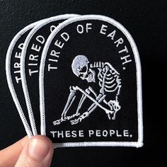 'Tired' #patch from @lifeclubuk. #patchcommand Link to store in their bio. Give them a #follow while you're there. #skeleton #skull #bones#death#dead by patchcommand