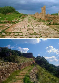 Two examples of ancient Roman roads: one at Leptis Magna, Libya (top) (CC BY-SA 3.0) and another at Santa Àgueda, Minorca (Spain) (bottom). (Public Domain)