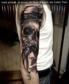 Tattoo by Simone Pfaff & Volko Merschky Tattoos Arm Mann, Arm Tattoos For Guys, Skull Tattoos, Tattoos For Women, Tatoos, Skull Tattoo Design, Tattoo Designs, Tatuagem Trash Polka, State Tattoos