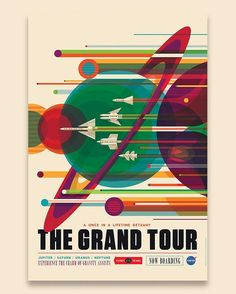 by Invisible Creature The Grand Tour Poster: NASA's Voyager mission took advantage of a once-every-175-year alignment of the outer planets for a grand tour of the solar system. The twin spacecraft revealed stunning details about Jupiter, Saturn, Uranus and Neptune – using each planet's gravity to send them on to the next destination. read more: https://instagram.com/p/BBagISKKIv3/