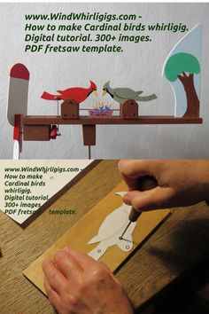 Set of photographs. Printable PDF template. 300+ images show the whole process of making and assembling a wooden whirligig «Cardinal birds» with moving puppet figures. Wood Turning Projects, Projects For Kids, Diy Projects, Rain Gauge, Cardinal Birds, Diy Toys, Wood Working, Garden Art, Wood