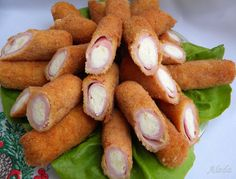 Aleda cuisine: stuffed with ham and cheese Meat Recipes, Cooking Recipes, Brunch Party, Bratwurst, Ham And Cheese, Bread Crumbs, Pretzel Bites, Finger Foods, Catering