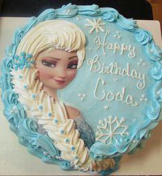 """12"""" round Elsa cake, all buttercream"""