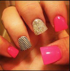 Pink, chevron and glitter nails!
