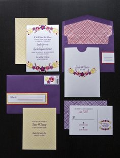 Floral and patterned invitations #floral #weddinginvitations #patternedinvitations #purple #yellow
