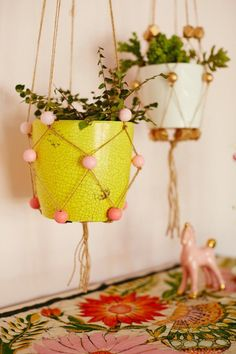 Make a beaded hanging planter for your room.