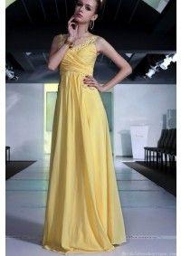 Dual Straps V-neck Floor Length Yellow Evening Dress