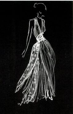 Compelling fashion illustration: white pencil on black paper. Could use dust/shavings for an interesting effect. x