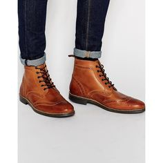 Red Tape Brogue Boots (92 CAD) ❤ liked on Polyvore featuring men's fashion, men's shoes, men's boots and brown