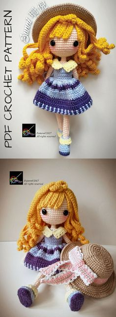 Sunni - Crochet Doll Pattern. I love the detail on this gorgeous doll! I need to make her! I love detailed amigurumi toy crochet patterns like this... this designer has lots of gorgeous pdf crochet patterns for other cute dolls. #etsy #ad #instant #download #printable #pattern