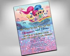 shimmer and shine, shimmer and shine birthday, shimmer and shine birthday invitation, party invitations, genie invites, sparkle invite Shimmer N Shine, Sparkle, Birthday Invitations, Invites, Online Print Shop, Diy For Kids, Party Planning, Party Time, Rsvp