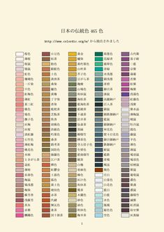 Chinese & Japanese Traditional Colour Names Colour Pallete, Color Schemes, Structural Color, Japanese Colors, Name List, Learn Chinese, Color Harmony, Color Names, Japanese Culture