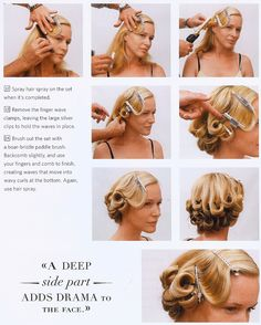 Pin-up hair.  Would definitely do with Bobby pins and pretty carefree instead.